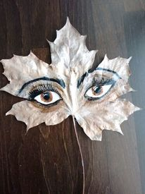 Malerei, Augen, Blätter, Braun