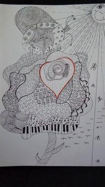 Leichtigkeit, Tinte, Tangeln, Zeichnen