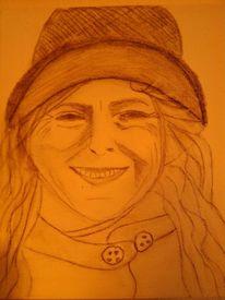 Frau, Kohlezeichnung, Zeichnung, Portrait