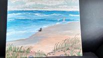 Herrchen, Strand, Hund, Warten