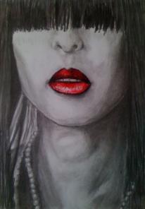 Lippenstift, Kohlezeichnung, Frau, Rot