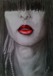 Kohlezeichnung, Frau, Rot, Pastellmalerei