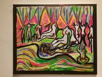 Feuerwerk, Nackte damen, Deepression, Malerei