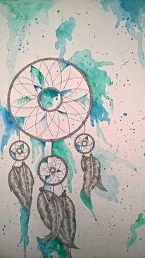 Aquarellmalerei, Zeichnung, Bleistiftzeichnung, Mischtechnik