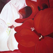 Blumen, Blume abstrakt, Rot, Malerei