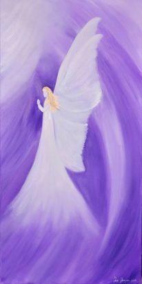 Abstrakt, Ölmalerei, Engel betend, Lila