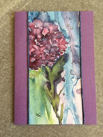 Glückwunschkarte, Hortensien, Aquarellmalerei, Aquarell