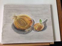 Zwiebeln, Gemüse, Stillleben, Mischtechnik