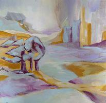 Gelb, Landschaft, Bleu, Malerei
