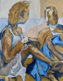 Gelb, Blau, Figur, Malerei