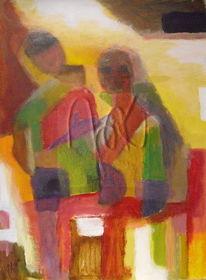 Hütte, Menschen, Afrika, Malerei