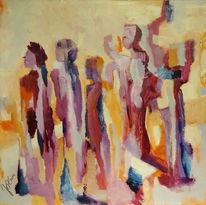Gruppe, Mann, Frau, Malerei