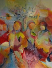 Frau, Kind, Landschaft, Gruppe