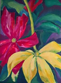 Blätter, Grün, Rot, Blüte