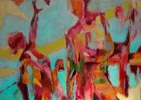 Weg, Menschen, Bewegung, Malerei