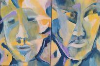 Blau, Diptychon, Gelb portrait, Malerei