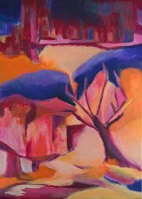 Landschaft, Pink, Baum, Haus