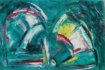Weiß, Grün, Geometrie, Malerei