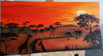 Orange, Malerei, Landschaft, Natur