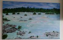 Landschaft, Acrylmalerei, Natur, Blau