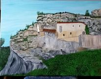Kapelle, Felsen, Malerei, Natur