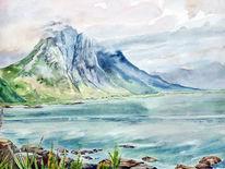 Norwegen, Landschaft, Aquarell,