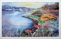 Elbe, Aquarellmalerei, Pflanzen, Landschaft
