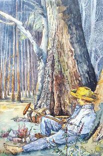 Menschen, Feuer, Wald, Baum