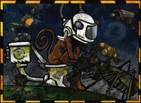 Schmierstuhl, Figural, Affe, Digitale kunst