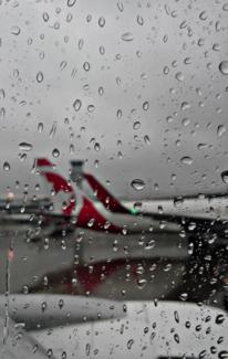 Flughafen, Flugzeug, Regen, Fotografie