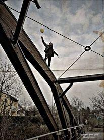 Menschen, Brücke, Luftballon, Fotografie