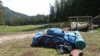 See, Rucksack, Wanderung, Wald