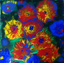 Acrylgießtechnik, Farben, Abstrakt, Blüte