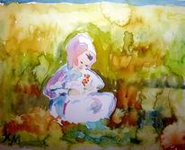 Rosa haube, Kind, Wiese, Blumen