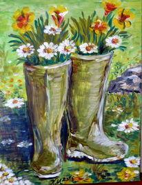 Stiefel, Blumen, Natur, Malerei