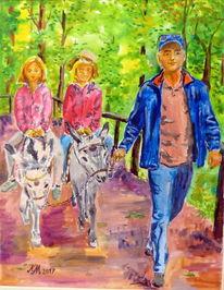 Farben, Kinder, Esel, Mann