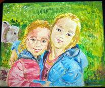 Geschwisterliebe, Malerei, Geschwister,