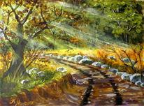 Herbstsonne, Sonnenstrahlen, Eichen, Stein