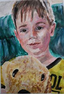 Gouachemalerei, Junge, Mit hund, Malerei