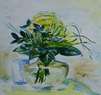 Glas, Weißgrün, Galsvase, Rose