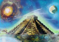 Pyramide, Malerei,