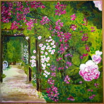 Malerei, Natur, Rosengarten, Rose