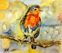 Rotkehlchen, Farben, Aquarellmalerei, Aquarell
