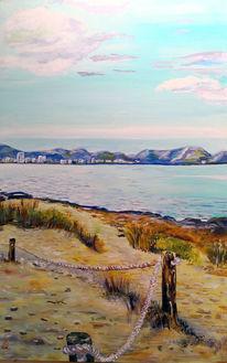 Strand, Berge, Meer, Malerei