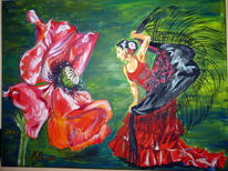 Flamenco, Rot, Kleidtanz, Mohn