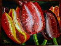 Tulpen, Tropfen, Dunkler hintergrund, Malerei