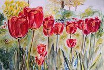 Tulpen, Vorgarten, Rot, Aquarell