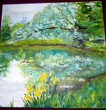 Weide, Gelbe iris, Schloßteich, Malerei