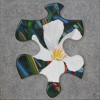 Malerei, Puzzle, Oleander