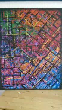 Spachtel, Bunt, Diagonal, Geometrie